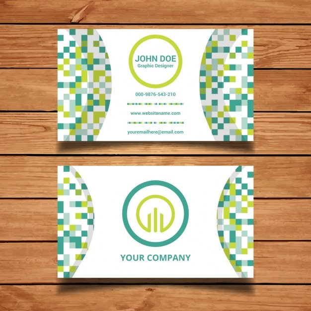 Green pixel business card vector free download for Business card pixels