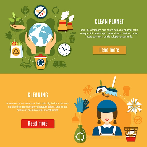 Green planet cleaning banners Free Vector