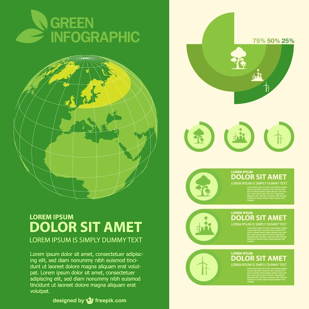 Green Planet Infographic Vector Free Download