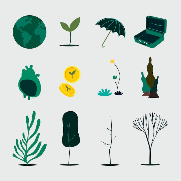 Green planet sustainability and conservation concept Free Vector