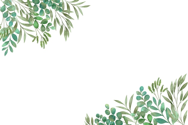 녹색 식물과 나뭇잎 복사 공간 프리미엄 벡터