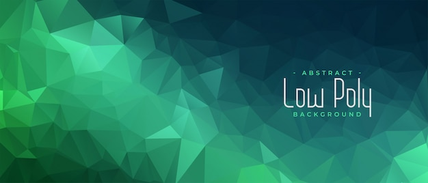 Green polygonal abstract banner with triangle shapes Free Vector