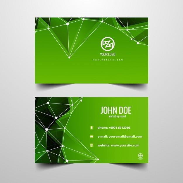 Green Polygonal Business Card: Green Polygonal Business Card Vector