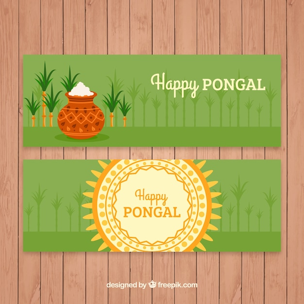 Green pongal banners with sugarcane Premium Vector