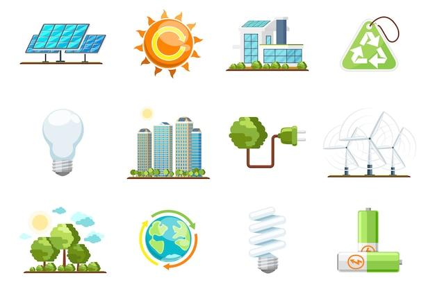 Зеленые значки власти. набор экологически чистой энергии. природа и окружающая среда, энергия био солнца, переработка зеленой энергии векторные иконки Бесплатные векторы