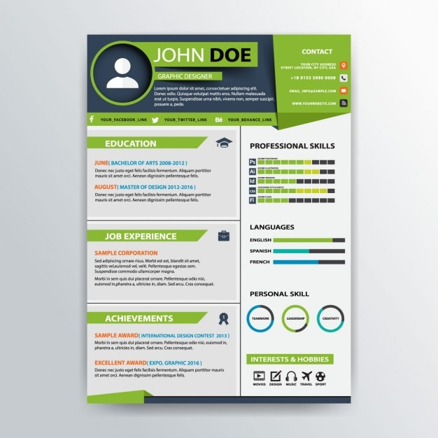 green professional resume template vector