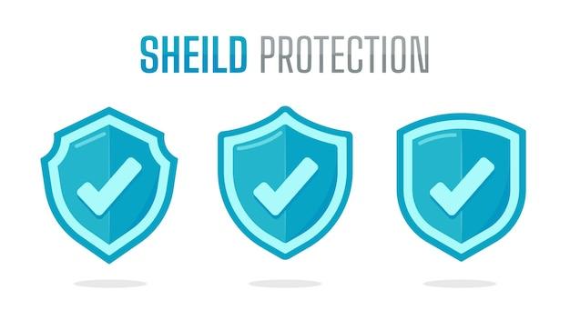 中央にプラス記号が付いた緑色の保護シールド。ウイルスからの保護の概念 Premiumベクター