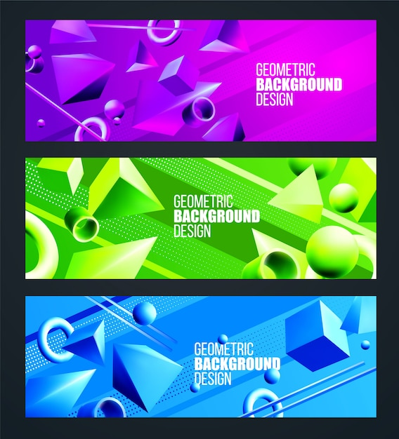Green, purple, blue background set with volumetric 3d figures triangle and square Premium Vector