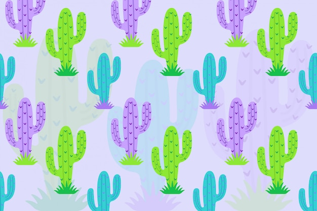 Green purple cactus pattern Premium Vector