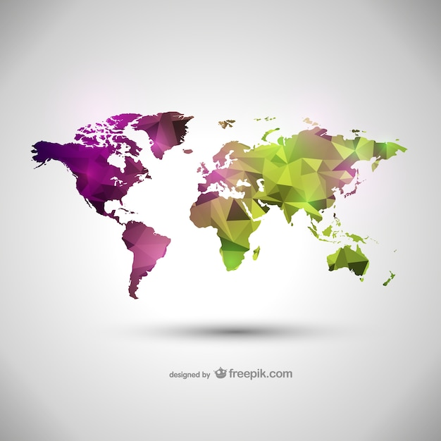 Green And Purple Polygonal World Map Vector Free Download