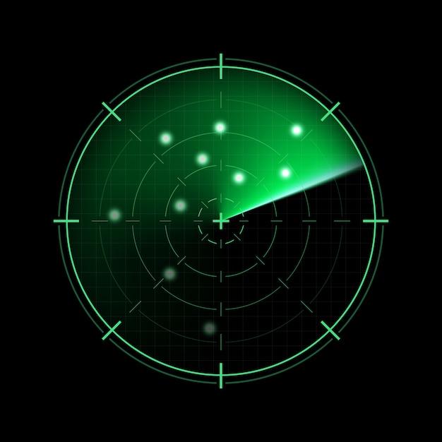 暗い背景に分離された緑のレーダー Premiumベクター