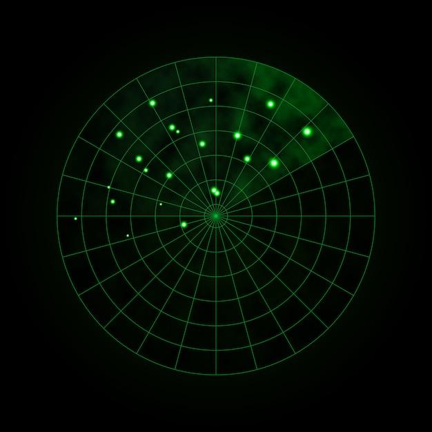 暗闇の中で分離された緑のレーダー。軍事検索システム。 hudレーダー表示。ベクトルイラスト。 Premiumベクター