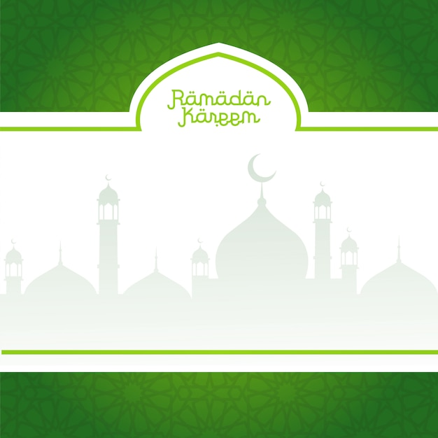 Green ramadan kareem background with mosques silhouettes Premium Vector