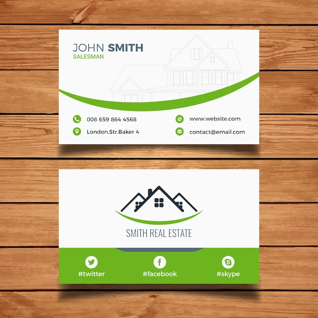 Green real estate business card vector free download green real estate business card free vector reheart Images