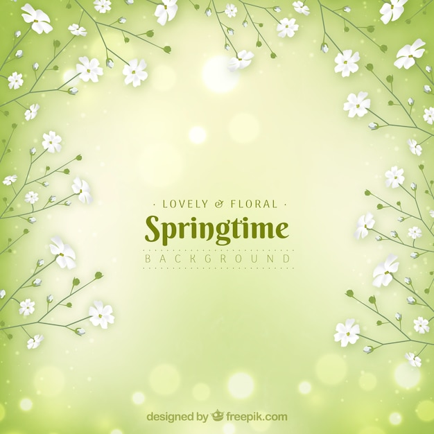 Green realistic spring background Free Vector