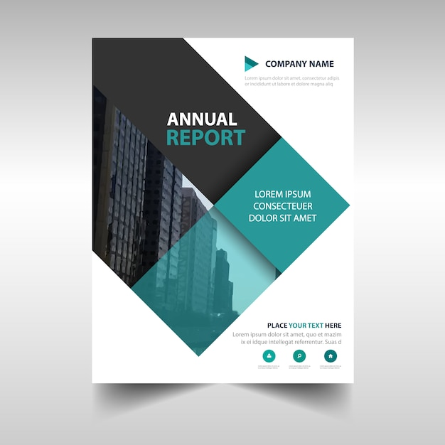 green rectangular professional annual report template