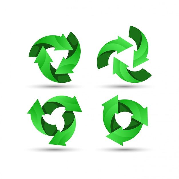 Green recycling logo Premium Vector