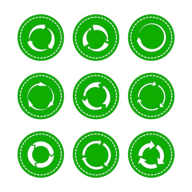 Green recycling round arrows Premium Vector