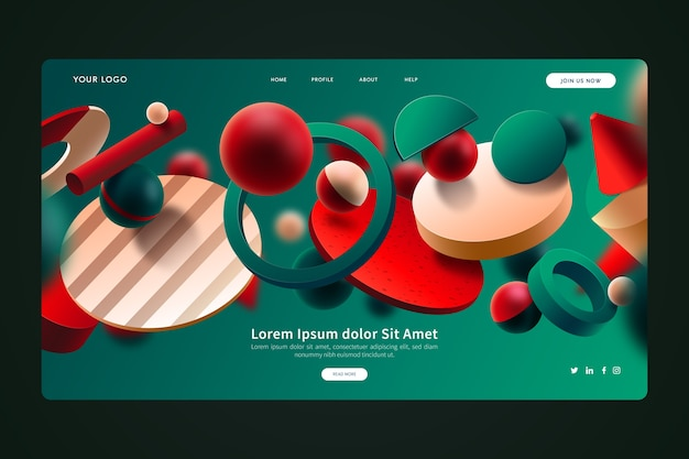 Green and red 3d geometric shapes landing page Free Vector
