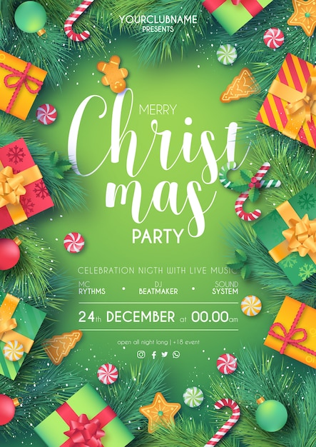 Green & red christmas party poster ready to print Free Vector