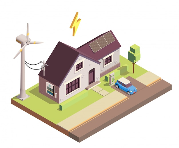 Green renewable energy production for home consumption isometric illustration Free Vector