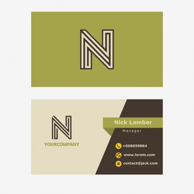 Green retro business card with n letter Free Vector