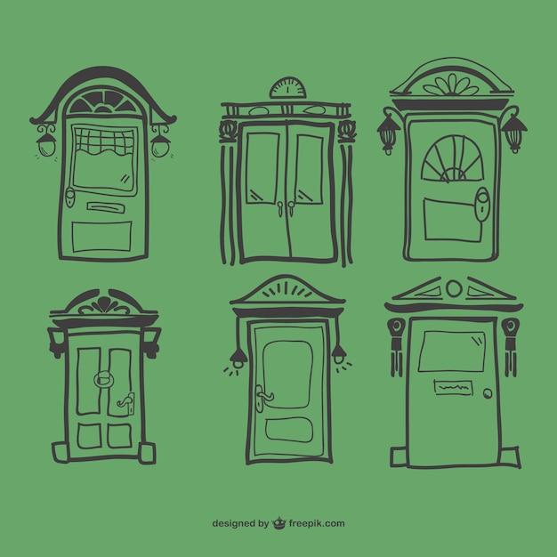 Green retro doors Free Vector