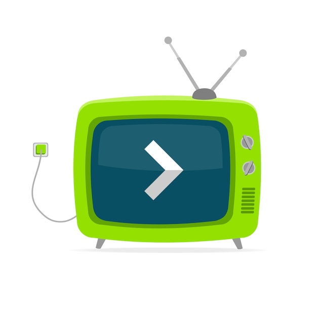 Green retro tv with arrow, wire and tiny antenna isolated on white background. Premium Vector