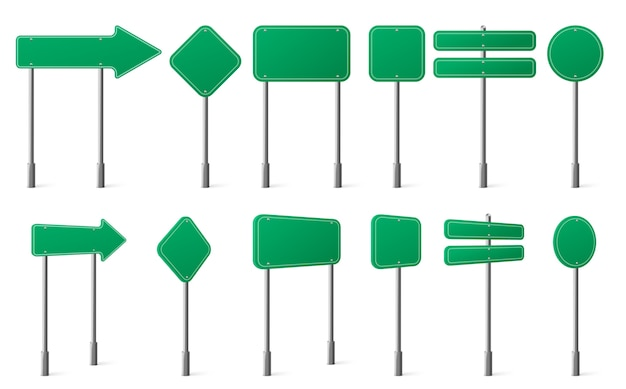 Green road signs different shapes on metal post front and angle view Free Vector