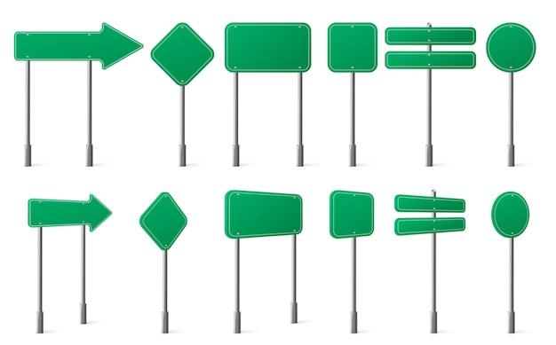 녹색 도로 표지판 금속 게시물 전면 및 각도보기에 다른 모양 무료 벡터