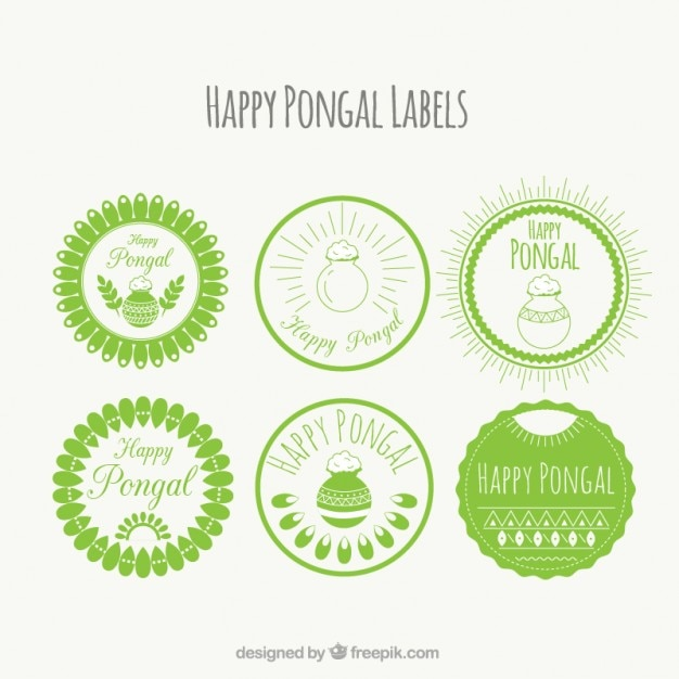 Green round pongal labels Free Vector