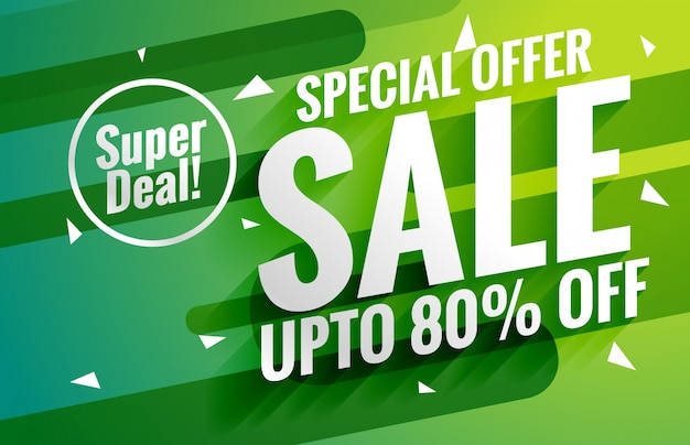 Green sale banner Free Vector