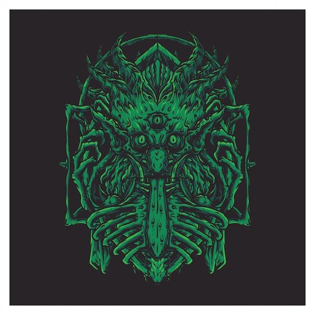緑の怖い巨大な顔 Premiumベクター