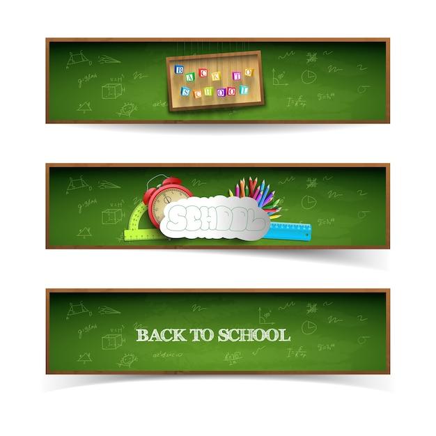 Набор баннеров зеленой школы Бесплатные векторы