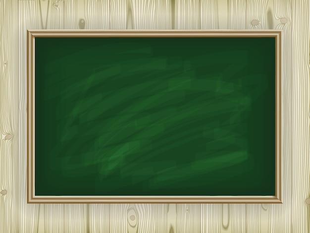 Green school board on a wooden background Premium Vector
