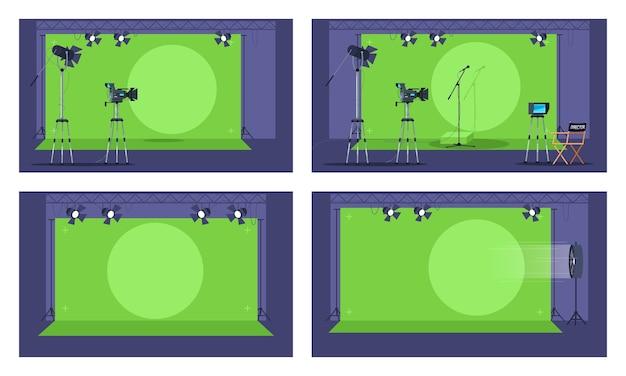 녹색 화면 세미 그림을 설정합니다. 미래 영화 제작 영역 컬렉션. 프리미엄 벡터