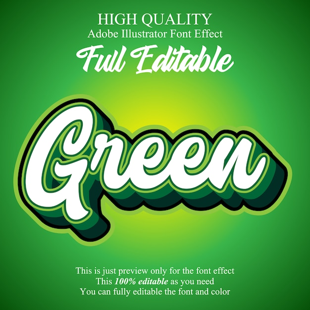 Green script editable typography font effect Premium Vector