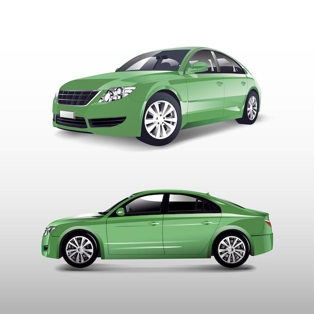 Green sedan car isolated on white vector Free Vector
