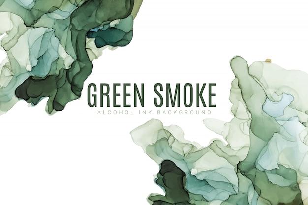 緑の色合いの水彩背景、ぬれた液体、手描きの背景水彩テクスチャ Premiumベクター