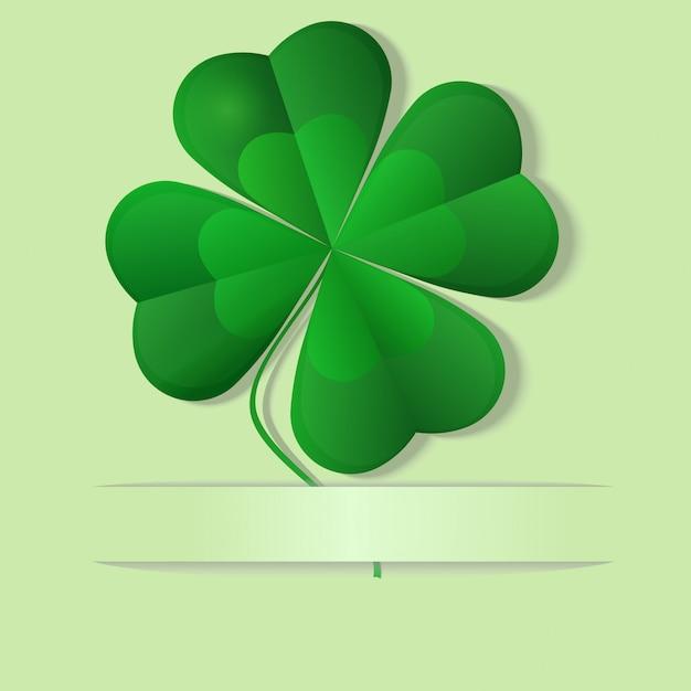 Green shamrock, four leaf clover, vector illustration Premium Vector