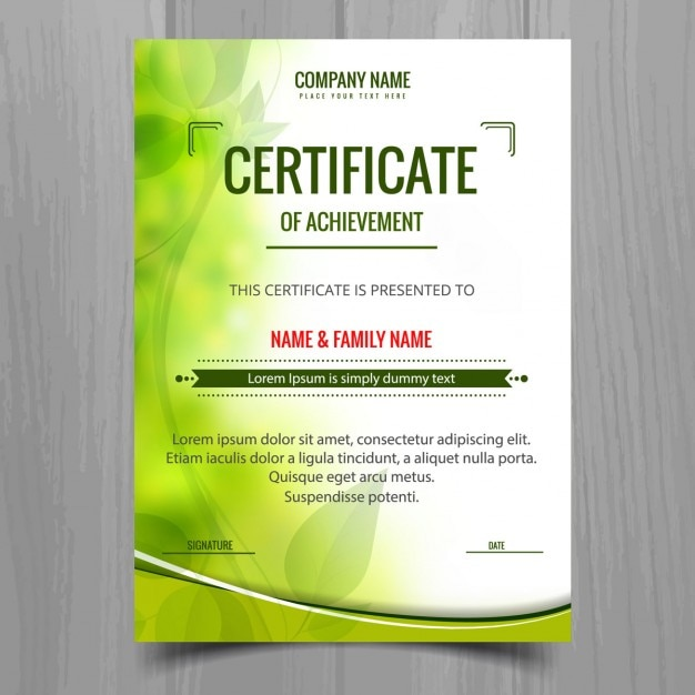 Green Shiny Certificate Template Free Vector  Free Download Certificate Templates
