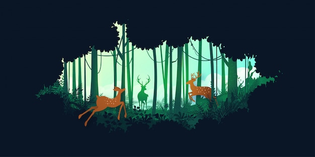 Green silhouette jungle tropical rain forest and deer wildlife Premium Vector