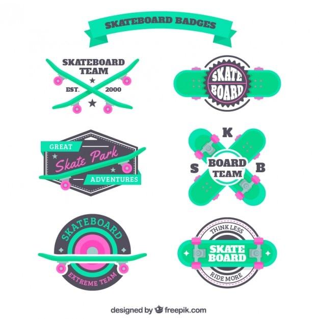 Green skateboard badges