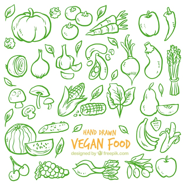 Green sketches vegetables background Free Vector