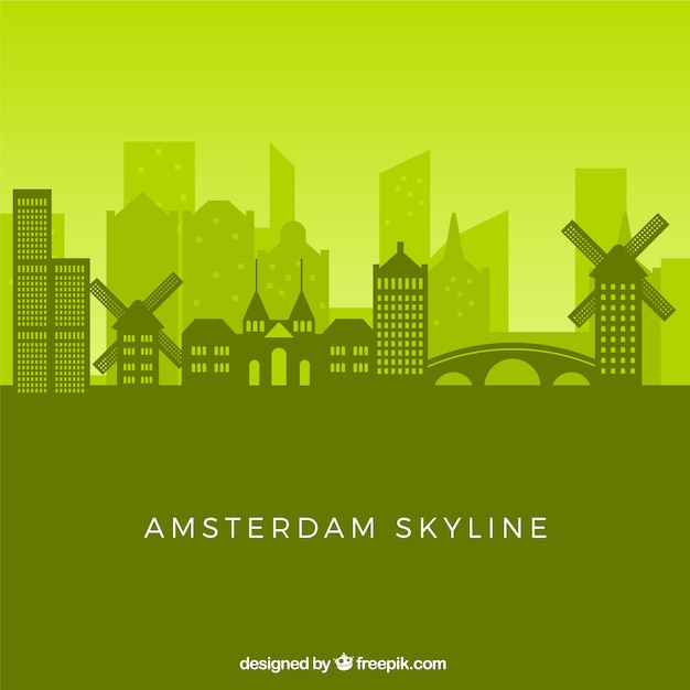 Green skyline of amsterdam Free Vector