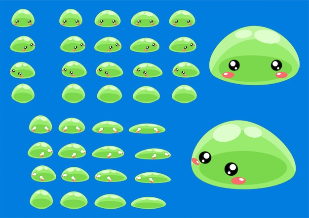 Green slime game sprites Premium Vector