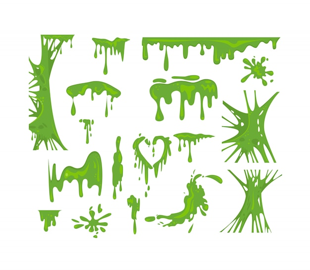 Green slime set Free Vector