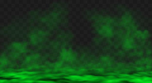 지상에 녹색 스모그 또는 안개 구름 확산 무료 벡터