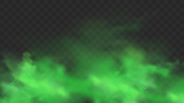 투명 한 배경에 고립 된 녹색 연기입니다. 현실적인 녹색 나쁜 냄새, 마법의 안개 구름, 화학 독성 가스, 증기 파도. 현실적인 그림 프리미엄 벡터
