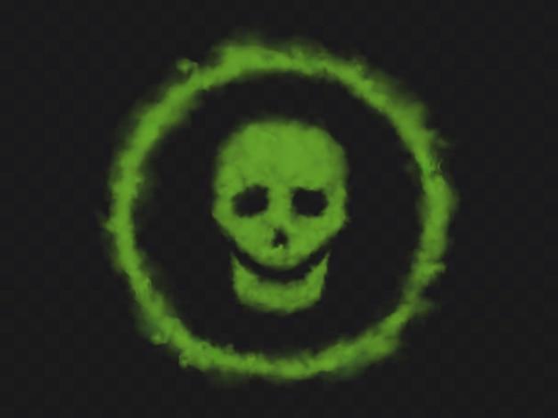 Green smoke skull sign in circle Free Vector